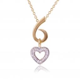 Collier coeur or jaune rhodie diamants