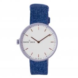 Montre homme, boîte laiton ,bracelet cuir et tissu bleu jeans et verre minéral