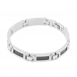 Bracelet en acier et carbone noir