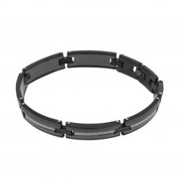 Bracelet en acier noir et carbone
