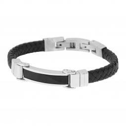 Bracelet en acier, cuir et céramique