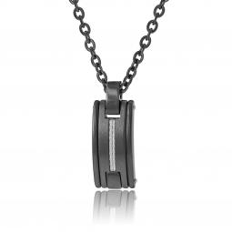 Collier en acier noir, céramique et carbone