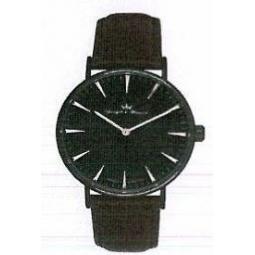Montre homme, boîte acier noir, bracelet cuir et verre minéral.