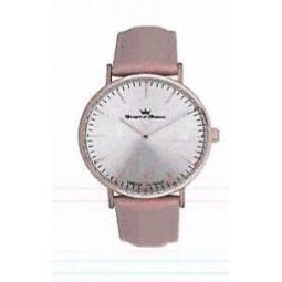 Montre femme, boîte acier rosé, bracelet cuir et verre minéral.