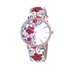 Montre femme, boîte métal doré rose, bracelet cuir et simili cuir fleur, verre minéral