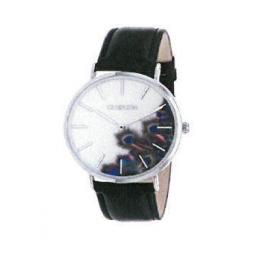 Montre femme, boîte métal, bracelet cuir et simili cuir noir, verre minéral.