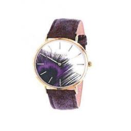 Montre femme, boîe métal doré, bracelet cuir et simili cuir violet, verre minéral