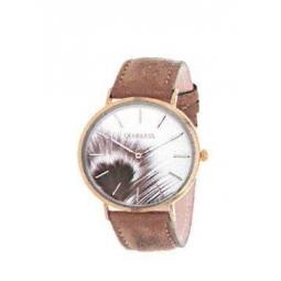 Montre femme, boîte métal doré, bracelet cuir et simili cuir doré, verre minéral