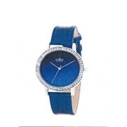 Montre femme, boîte métal, bracelet cuir et simili cuir bleu métalique, strass et verre minéral