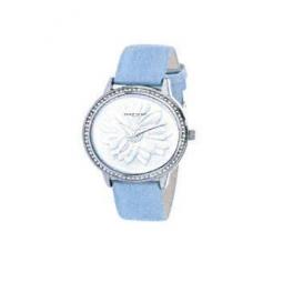 Montre femme, boîte métal et strass, bracelet cuir et simili cuir bleu pastel et verre minéral.