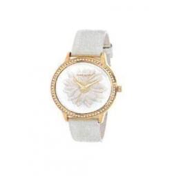 Montre femme, boîte métal doré et strass, bracelet cuir et simili cuir blanc nacré et verre minéral.