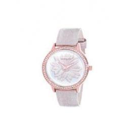 Montre femme, boiîte métal doré rose et strass, bracelet cuir et simili cuir rose nacré et verre minéral.