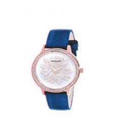 Montre femme, boîte métal doré rose et strass, bracelet cuir et simili cuir bleu nacré et verre minéral.
