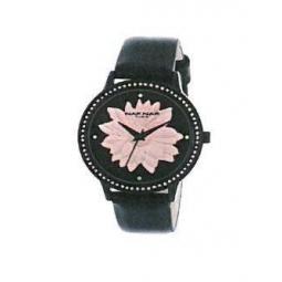 Montre femme, boîte métal noir et strass, bracelet cuir et simili cuir noir et verre minéral