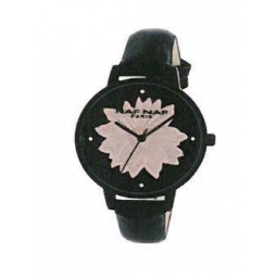 Montre femme, boîte métal noir, strass et fleur rose, bracelet cuir et simili cuir noir et verre minéral.