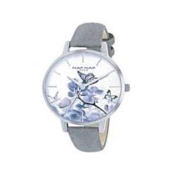 Montre femme, boîte métal, bracelet cuir et simili cuir gris et verre minéral.