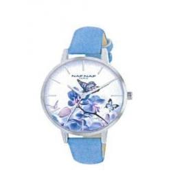 Montre femme, boite métal, bracelet cuir et simili cuir bleu nacré et verre minéral