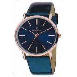 Montre femme, boîte métal doré rose, bracelet cuir et simili cuir bleu et verre minéral
