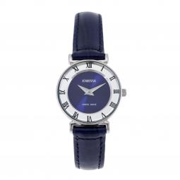 Montre femme, boîte acier, bracelet cuir bleu imitation croco et verre minéral