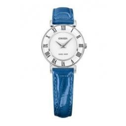 Montre femme, boîte acier, bracelet cuir imitation croco bleu clair et verre minéral