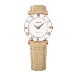 Montre femme, boîte acier doré rose, bracelet cuir beige imitation croco et verre minéral