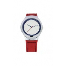 Montre femme, boîte métal,bracelet silicone rouge et verre minéral.
