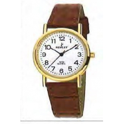 Montre femme, boîte acier doré, bracelet simili cuir marron et verre minéral