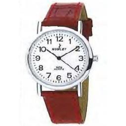 Montre femme, boîte métal, bracelet simili cuir rouge et verre minéral