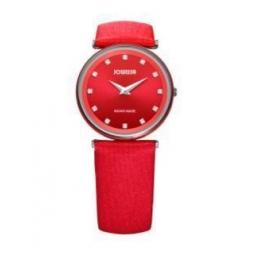 Montre femme, boîte alluminium, bracelet simili cuir rouge et verre minéral