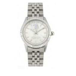 Montre femme, boîte acier, bracelet acier et verre minéral.