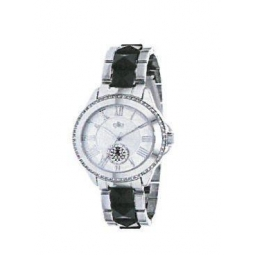 Montre femme, boîte métal, bracelet acier et plastique noir, strass et verre minéral