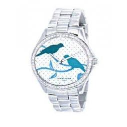 Montre femme, boîte métal et strass, bracelet acier et verre minéral.