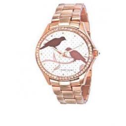 Montre femme, boîte métal doré rose et strass, bracelet acier doré rose et verre minéral.