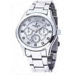 Montre femme, boîte métal, bracelet acier et verre minéral.
