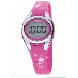 Montre fille, boîte métal, bracelet caoutchouc et verre plexiglas