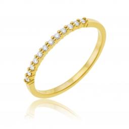 Demi alliance en or jaune, diamants
