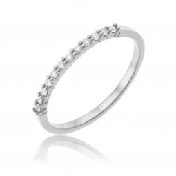 Demi alliance en or gris, diamants