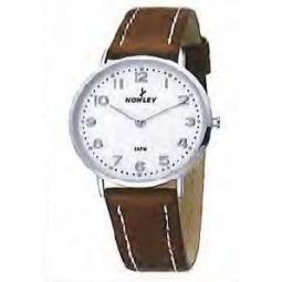 Montre homme, boîte métal, bracelet simili cuir marron et verre minéral.