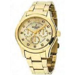 Montre femme, boîte métal doré, bracelet acier doré et verre minéral