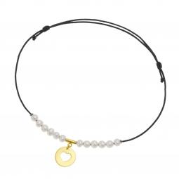 Bracelet cordon noir en or jaune, perles de culture