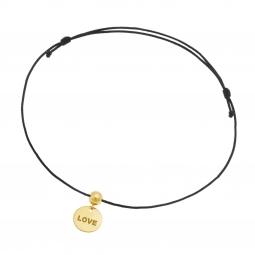 Bracelet cordon noir en or jaune, plaque ronde