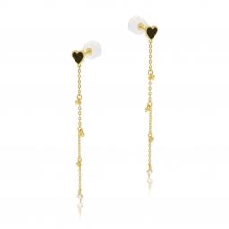 Boucles d'oreilles en or jaune, laque et  oxyde de zirconium