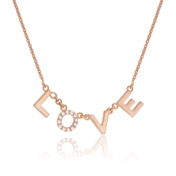 Collier en bronze plaqué or rose et oxydes de zirconium, LOVE