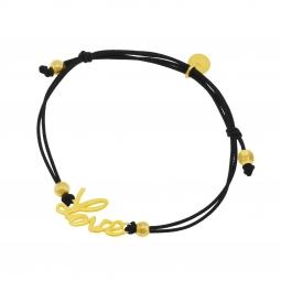 Bracelet cordon en argent doré, love