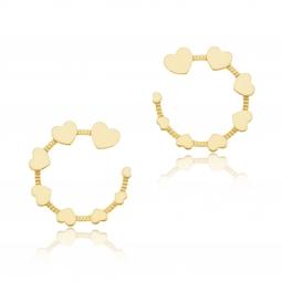 Boucles d'oreilles en acier doré, coeur