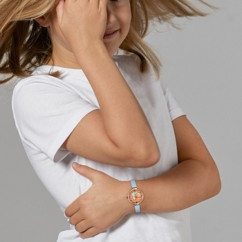 Montre enfant, boîte acier, bracelet en cuir et verre minéral, girls