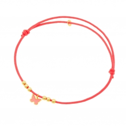 Bracelet cordon orange fluo en or jaune et laque, boules or