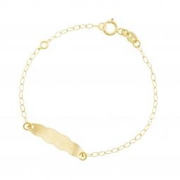 Bracelet identié en or jaune, plaque nuage