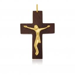 Croix en or jaune et bois, Christ