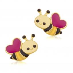 Boucles d'oreilles en or jaune et  laque, abeille